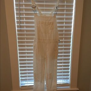 Free People Straight Eyelet Overall SZ 2 Off White